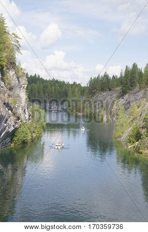RUSKEALA, RUSSIA - AUGUST 09, 2014: August evening in the marble canyon