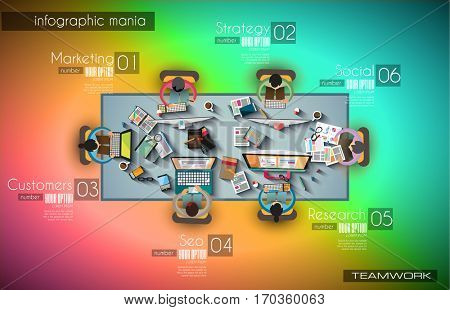Ideal Workspace for teamwork Infographic and brainstorming with Flat style.Lot of design elements are included: computers, mobile devices, desk supplies, pencil,coffee mug, sheeets,documents and so on