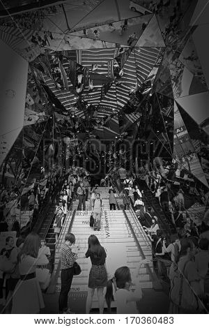 Tokyo, Japan - JUNE 6, 2016 : Omotesando Tokyo Plaza building in Harajuku, Tokyo, Japan. It is a fashion theme park shopping mall for the trendiest fashion.  The entrance is full of mirror.