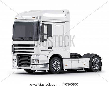 white big truck on white background. 3d illustration (isolated)