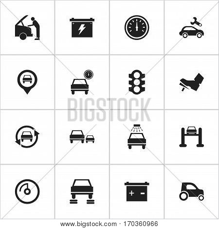 Set Of 16 Editable Car Icons. Includes Symbols Such As Vehicle Car, Pointer, Car Lave And More. Can Be Used For Web, Mobile, UI And Infographic Design.