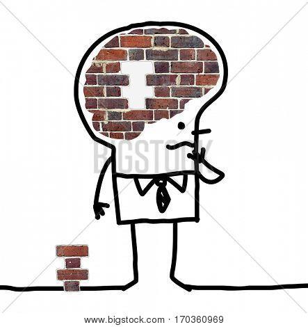 Cartoon Big Brain Man - wall and puzzle