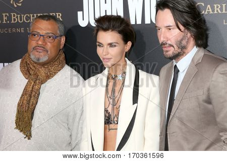 LOS ANGELES - JAN 30:  Laurence Fishburne, Ruby Rose, Keanu Reeves at the