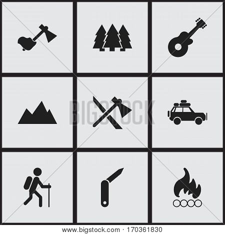 Set Of 9 Editable Travel Icons. Includes Symbols Such As Blaze, Gait, Tomahawk And More. Can Be Used For Web, Mobile, UI And Infographic Design.