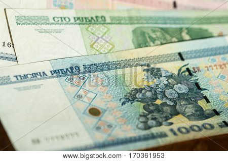 Banknote Background, Belarusian Rubles Close Up
