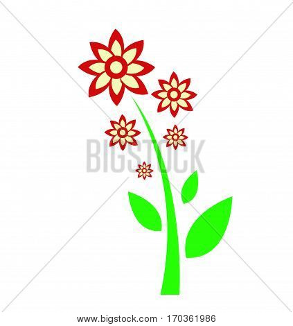 colorful spring flowers vector illustration on white