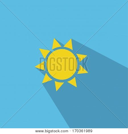 Sun Icon illustration with blue background and shadow