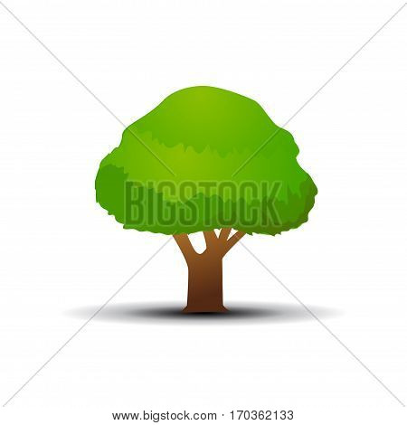 Colored tree illustration on white background art