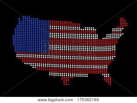 USA map vector illustration on black background