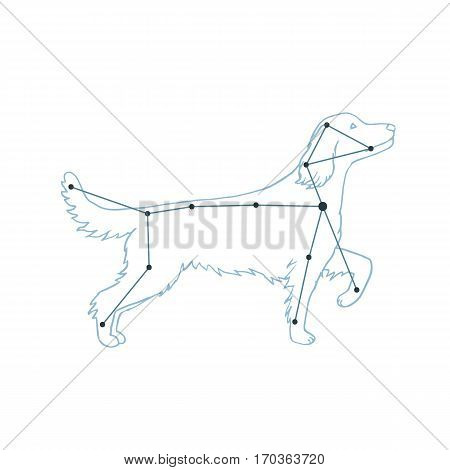 Vector Illustration Of Canis Major. Dog Constellation Hand-drawn Background. Astrology Picture On Wh