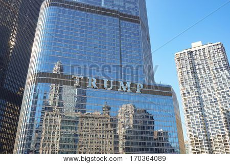CHICAGO, USA - CIRCA APRIL, 2016: Trump Tower Chicago at daytime. The Trump International Hotel and Tower is a skyscraper condo-hotel in downtown Chicago.