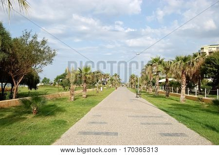 Promenade for pedestrian walks along the beach in the Turkish resort of Side.
