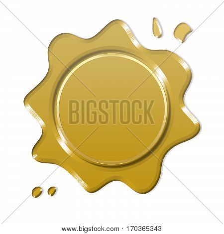 gold wax seal or signet isolated on white