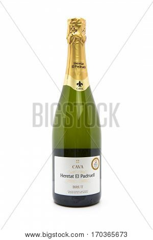 SWINDON UK - FEBRUARY 11 2017: Bottle of Heretat El Padruell Brut Cava on a white background