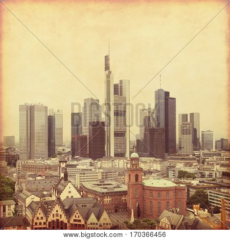 Aerial view of Frankfurt in grunge and retro style.