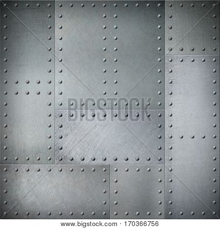 Metal with rivets steel background or texture