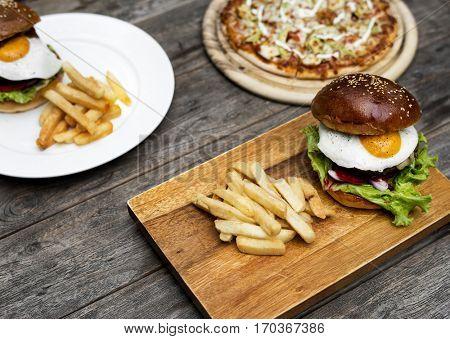 Hamburger Fries Pizza Food Meal Savory