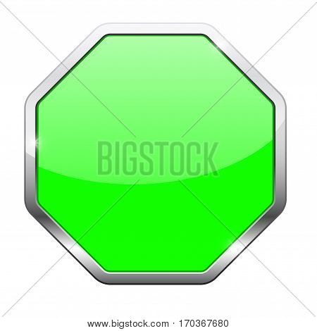 Octagon green button with chrome frame. Vector illustration isolated on white background