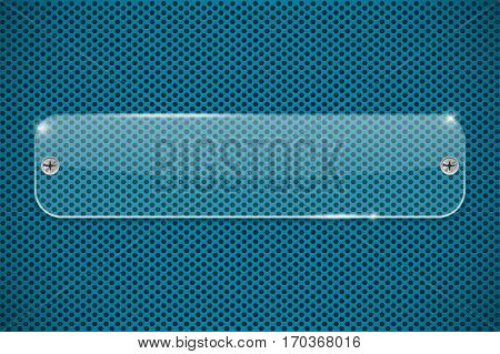 Transparent acrylic plate on blue perforated background. Vector illustration