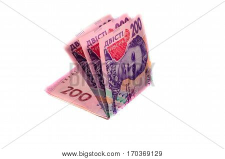 Ukrainian banknotes isolated on a white background