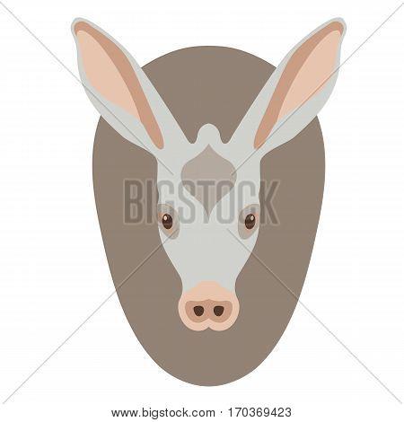 anteater face  head  vector illustration style Flat