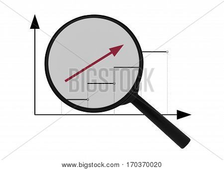Magnifier and upward red arrow isolated on white background