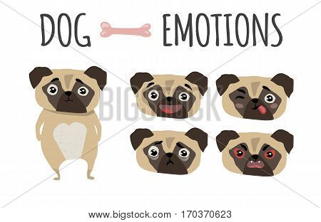 Cute funny dogs set various emotions. Dog in cartoon style.