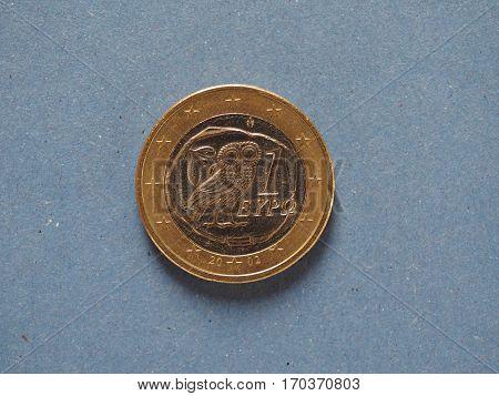 1 Euro Coin, European Union, Greece Over Blue