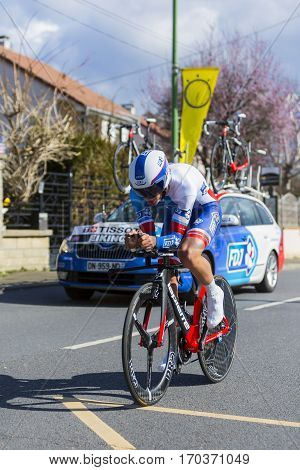 Conflans-Sainte-HonorineFrance-March 62016: The Norwegian cyclist Odd Christian Eiking of FDJ Team riding during the prologue stage of Paris-Nice 2016.
