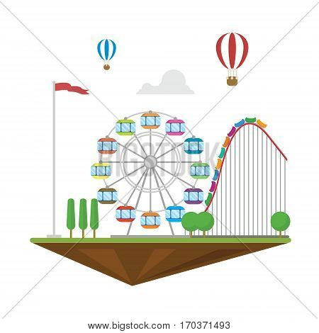 Amazement park flat landscape isolated hot balloon roller coaster and wheel with trees