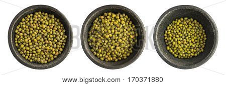 Set Of Raw Dry Mung Beens Grains Heap In Black Iron Bowl