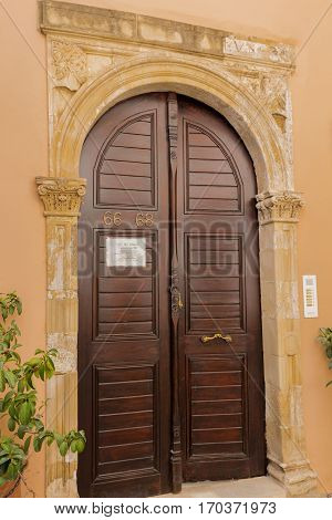 Rethymno, Greece - July  30, 2016:  Old Archway Portal.