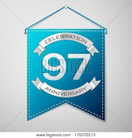 Blue pennant with inscription Ninety seven Years Anniversary Celebration Design over a grey background. Silver ribbon. Colorful template elements for your birthday party. Vector illustration