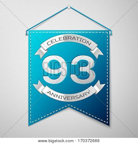 Blue pennant with inscription Ninety three Years Anniversary Celebration Design over a grey background. Silver ribbon. Colorful template elements for your birthday party. Vector illustration