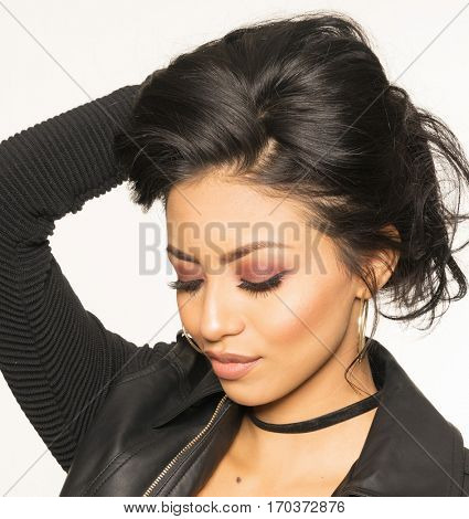 Beautiful womans face, eyes closed, beauty cosmetic image.