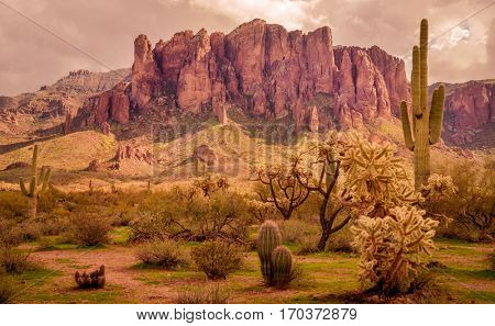 Arizona desert  mountain landscape, Superstition Mountain,located near Phoenix metropolitan area,  Az,USA