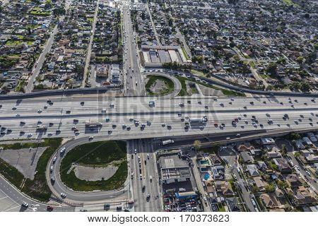 Los Angeles, California, USA - January 26, 2017:  Aerial view of the Golden State 5 freeway at Osborne Street in the San Fernando Valley.