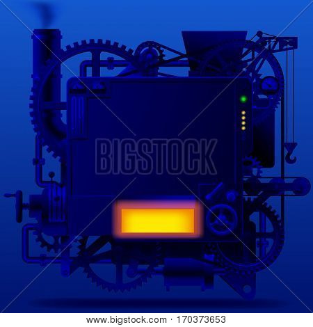 Blue complex fantastic machine with gears, levers, pipes, meters, production line, flue and lifting crane on blue. Steam punk style template, poster and techno symbol. Contains the Clipping Path