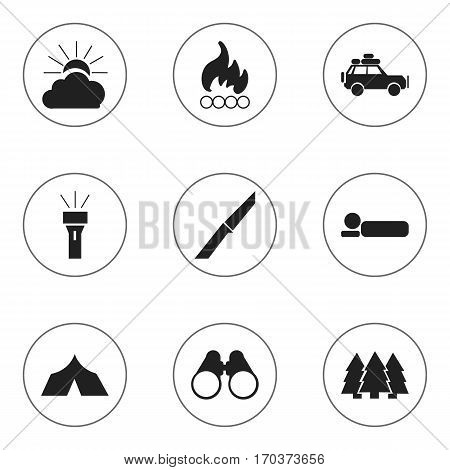 Set Of 9 Editable Trip Icons. Includes Symbols Such As Voyage Car, Bedroll, Field Glasses And More. Can Be Used For Web, Mobile, UI And Infographic Design.