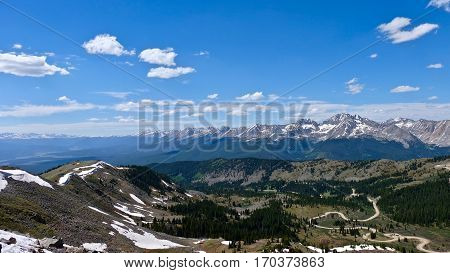Switchbacks on windy mountain road. Cottonwood Pass near Denver and Buena Vista. Colorado. United States.