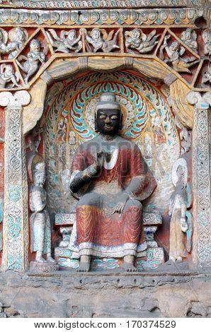 yungang grottoes color Buddha Datong China caves