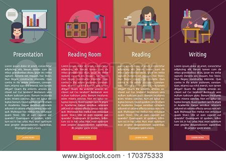 Education and Science Vertical Banner Concept | Set of great vertical banner flat design illustration concepts for education, science, learning, reading and much more.