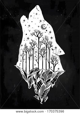 Double exposure, deocrative wolf howling at moon with forest landscape, mountain, night sky. Isolated vintage vector illustration. Freedom. Tattoo, adventure, wildlife symbol. The great outdoors.