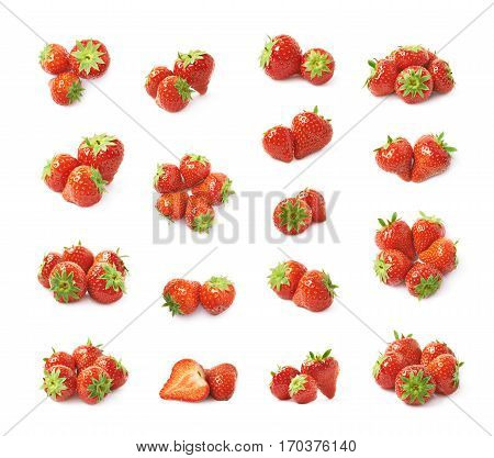 Pile of few ripe red strawberries isolated over the white background, set of multiple different foreshortenings