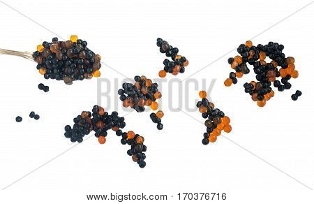 Black And Red Caviare Isolated On White Background