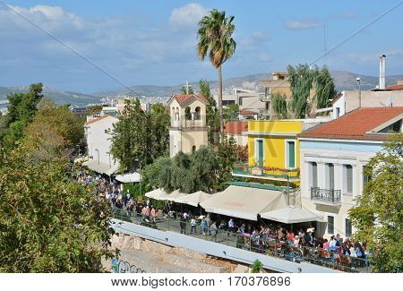 ATHENS, GREECE - OCTOBER 19: Adrianou Street in the Monastiraki old district a nice touristic place next to Ancient Agora ruins OCTOBER 19, 2014 in Athens, Greece