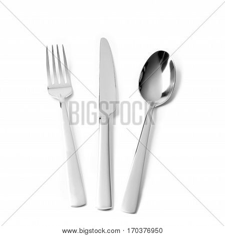 Cutlery silverware fork knife and spoon on white background
