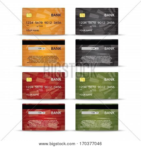 Templates of credit cards design with an abstract background, Isolated vector