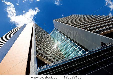 Office modern skyscraper building in Barcelona Spain