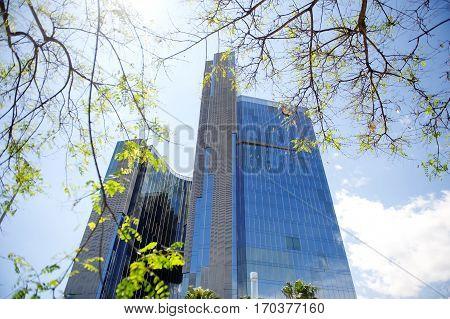 Modern skyscraper business building in Barcelona Spain Europe